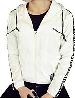 Мужской Хлопок / Полиэстер Куртка На каждый день,Буквы,Длинный рукав,Черный / Белый