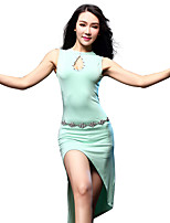 Belly Dance Dresses Women's Training Modal Split Front 1 Piece Black // Sky blue Belly Dance Sleeveless High Dress