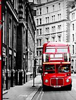 3d shinny effet cuir scène grande fresque papier peint ville de nuit et rouge art bus mur papier décoration murale