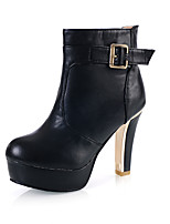 Women's Boots Spring / Fall / Winter Platform / Fashion Boots Leatherette Outdoor / Casual Chunky Heel BuckleBlack