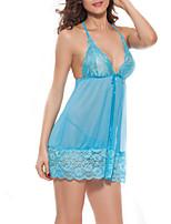 Para Mujer Camisola y Bata / Lencería de Encaje Ropa de dormir,Encaje Jacquard-Medio Encaje Azul