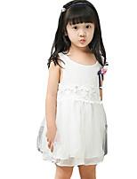 Mädchen Kleid-Lässig/Alltäglich einfarbig Polyester Sommer Lila / Weiß