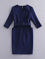 Boutique S Going out //Sexy / Vintage / Street chic Sheath Dress,Solid Round Neck Knee-length ½ Length SleeveBlue