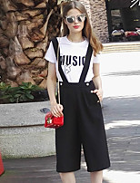 Boutique S Going out / Street chic Summer T-shirt Pant,Solid / Letter Round Neck Short Sleeve Black