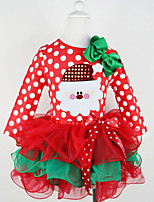 Girl's Party/Cocktail Polka Dot Chirstmas Dress,Polyester Summer Red
