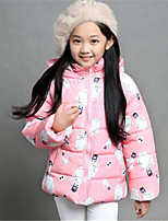 Girl's Casual/Daily Floral Down & Cotton Padded,Cotton Winter Green / Pink / Red