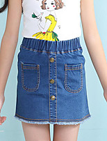 Girl's Casual/Daily Solid Dress / Skirt / Jeans,Cotton Summer Blue