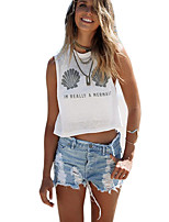Women's Casual/Daily Sexy Summer T-shirt,Print Round Neck Sleeveless White Cotton Opaque
