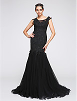 TS Couture® Formal Evening Dress Fit & Flare Scoop Court Train Tulle with Appliques
