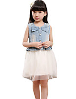 Girl's Casual/Daily Patchwork Dress,Others Summer White