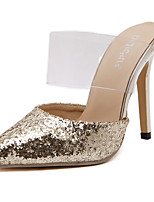 Women's Sandals Summer Sandals / Pointed Toe Polyester Casual Stiletto Heel Sequin Black / Silver / Gold Others