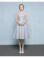 Tea-length Lace / Satin Bridesmaid Dress Ball Gown Scoop with Beading / Lace
