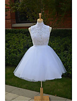 Ball Gown Wedding Dress Short / Mini High Neck Lace / Tulle with Appliques / Beading / Sequin