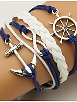 Retro Style Multilayer Blue/White Anchor Arrow Weave Wrap Bracelet
