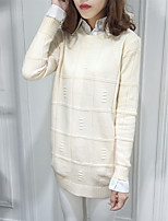 Women's Casual/Daily Simple Regular Pullover,Solid Multi-color Round Neck Long Sleeve Wool Fall Medium Stretchy