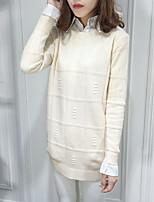 Damen Standard Pullover-Lässig/Alltäglich Einfach Solide Mehrfarbig Rundhalsausschnitt Langarm Wolle Herbst Mittel Dehnbar