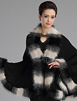 Women's Wrap Capes Sleeveless Faux Fur Black / Candy Pink / Khaki Wedding / Party/Evening / Casual  Button / Feathers /