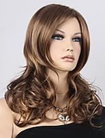 mode machine de cheveux résistant à la chaleur onduleux naturel fait couleur hightlight brune perruque blonde synthétique