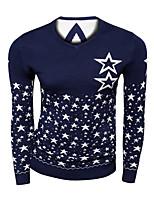 Мужской С принтом Пуловер На каждый день,Шерсть,Длинный рукав,Черный / Синий / Красный