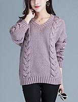 Women's Casual/Daily Street chic Regular Pullover,Solid Beige / Purple V Neck Long Sleeve Acrylic Fall Medium