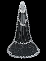 Wedding Veil One-tier Chapel Veils Lace Applique Edge Tulle White