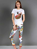 Boutique S Women's Going out Vintage Spring Set Pant,Print Round Neck Short Sleeve White Cotton Opaque
