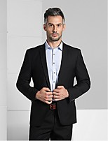 Suits Slim Fit Notch Single Breasted One-button Viscose Solid 2 Pieces Black Straight Flapped