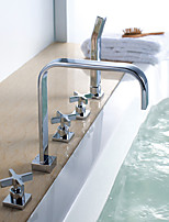 Contemporary / Art Deco Tub And Shower Waterfall / Rain Shower / Widespread / Handshower Included / Pullout Spray with