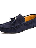 Women's Shoes Leather Spring Round Toe / Flats Flats Casual Flat Heel Slip-on / Split Joint / RuchedBlue / Orange /