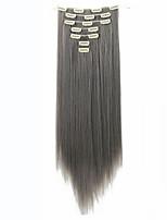 longue ligne droite extension de cheveux 22inch 130g 16 clips 7pcs / Clip synthétique situé dans les extensions de cheveux de la chaleur