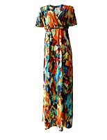 Women's Plus Size / Casual/Daily Vintage Loose Dress,Print V Neck Maxi Short Sleeve Yellow Acrylic / Polyester Summer