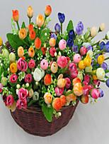 1 1 Филиал Полиэстер / Пластик Розы Букеты на стол Искусственные Цветы 14.171Inch/36cm