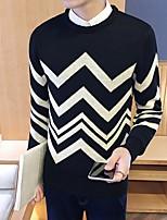 Men's Print Casual Pullover,Wool Long Sleeve Black