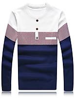 Мужской В полоску Пуловер На каждый день / Большие размеры,Хлопок / Полиэстер,Длинный рукав,Синий / Красный / Белый