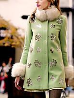 DABUWAWA® Dames Opstaand Lange mouw Wool & Blends Grijs-D15CCO005