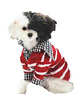 Chat / Chien Pull Rouge / Noir Vêtements pour Chien Hiver / Printemps/Automne Rayure Vacances Petstyle