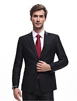 Suits Standard Fit Notch Single Breasted Two-buttons Cotton Solid 2 Pieces Black Straight Flapped