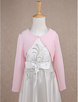 Kids' Wraps Shrugs Long Sleeve Chiffon Blushing Pink Wedding / Party/Evening Scoop Button Clasp