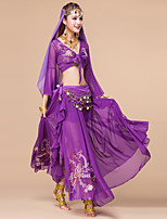 Belly Dance Outfits Women's Performance Chiffon Sequin 3 Pieces Top/Skirt/Belt  Fuchsia / Light Blue / Purple / Blue