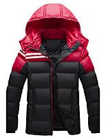 Men's Regular Padded Coat,Cotton / Polyester Solid Long Sleeve