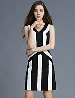 KLIMEDA  Women's Casual/Daily Vintage Shift Dress,Striped V Neck Above Knee Sleeveless Black Polyester Summer