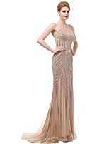 Formal Evening Dress Trumpet / Mermaid Spaghetti Straps Court Train Polyester with Beading