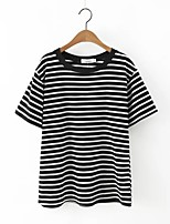 Women's Casual/Daily Simple Summer T-shirt,Striped Round Neck Short Sleeve Black Cotton / Linen Thin