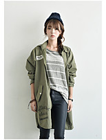 Women's Casual/Daily Simple Trench Coat,Solid V Neck ¾ Sleeve Fall White / Brown / Green Polyester Thin