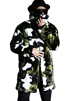 Men's Camouflage Casual / Plus Sizes Trench coat,Faux Fur Long Sleeve-Green