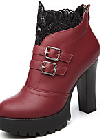 Women's Boots Spring/Fall/Winter Heels Synthetic Party & Evening / Casual Chunky Heel Black / Red Snow Boots