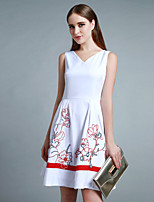 Boutique S Women's Casual/Daily Cute A Line Dress,Embroidered V Neck Above Knee Sleeveless Cotton / Polyester Summer