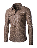 Men's Retro Style Pocket Decorated Leather Jacket,PU / Polyester Solid Black / Brown