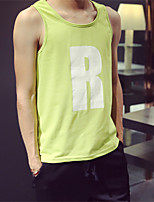 Men's Letter Casual Tank Tops,Cotton Sleeveless-Blue / Green / Yellow / Gray