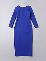 простой демонстрационный выход / случайный / дневной / праздник / милый / сложный платье, твердый круглый миди шею ½ длина рукава синий
